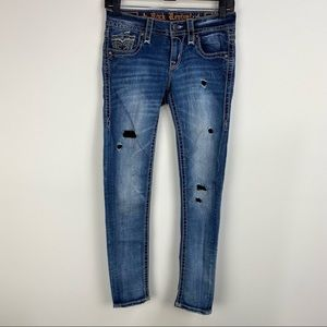 Rock Revival Dalia Skinny Low Rise Patched Jeans